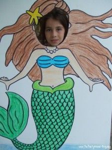 mermaid party standup photo op -- this idea would be great for any themed party!