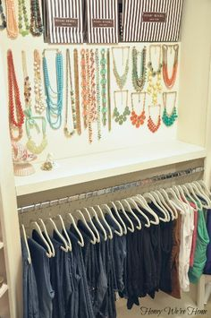 "Organized ""Boutique"" Closet // Honey We're Home, hanging necklaces for display on a pushpin"