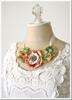 fabric rose necklace