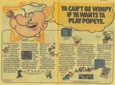 Popeye #Nintendo #ParkerBrothers #videogame #ad #advertisement #1980s
