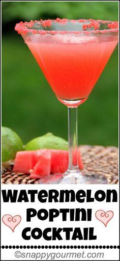 Watermelon Poptini Cocktail recipe, secret ingredient that makes this drink POP! snappygourmet.com