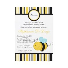 Spring Honey Bumble Bee.5x7 Baby Shower Invitation