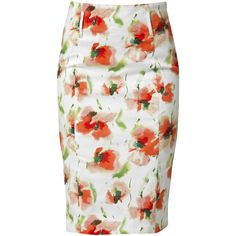 RAXEVSKY FLOWER BOOM Coral Pencil Skirt ($63) ❤ liked on Polyvore