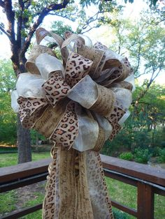 CHRISTMAS TREE TOPPER Single Bow in Leopard Gold and by decoglitz