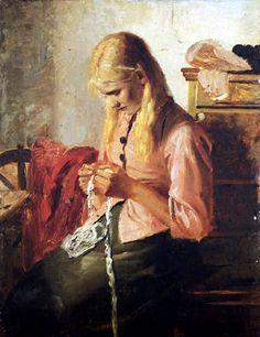 Michael Peter Ancher (1849-1927): Häkelndes junges Mädchen