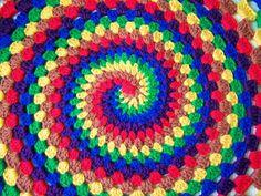 spiral rainbow, crochet afghan, craft, rainbow blanket, patterns, granni swirl, crochet granni, blankets, spiral crochet blanket
