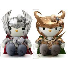 Hello kitty Thor and Loki toys