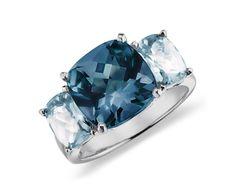 Blue Topaz Ring in 14k White Gold #BlueNile