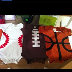Super cute sports Onsies that can be used for Cheering on Big Brother and Sporting Events!