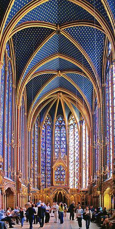 The cathedral of Sainte Chapelle, Paris. The most beautiful stained glass in the world. I've been here! So much more beautiful in person!