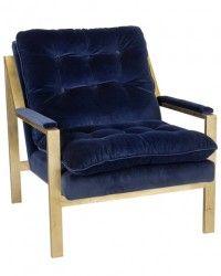 Shop Ten 25 Cameron Gold Leaf Navy Velvet Chair