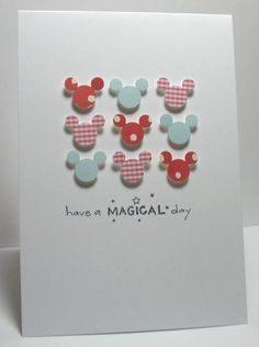 Magical Day-could do any punch and sentiment.  easy for the kiddos card idea, mickey card, magic pet, balloon dream, disney birthday cards, mickey birthday, mickey mouse birthday cards, paper crafts, disney cards