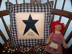 free images for primitive decor. | Primitive-Stitchery-Barn-Star-Pillow-Americana-Country-Prim-Home-Decor ...