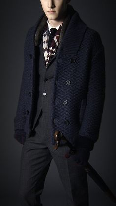 Burberry Shawl Collar Knitted Pea Coat