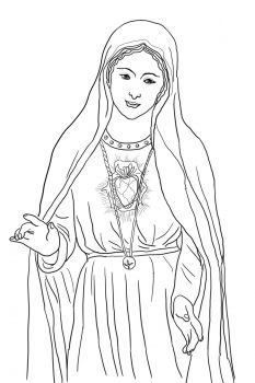 Immaculate Heart of Mary Catholic Coloring Page