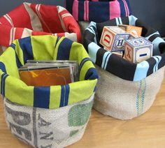 Storage sacks made from coffee bags