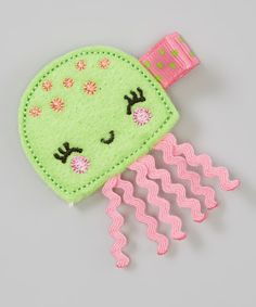 Look at this Bubbly Bows Green & Pink Jellyfish Clip on #zulily today!