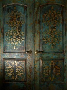 Love the gold and patina finish! Bohemian doors by Vancouver, WA's Johanna's Design Studio.