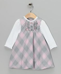 Take a look at this White Tee & Pink Plaid Bubble Jumper - Infant by Little Me on #zulily today!
