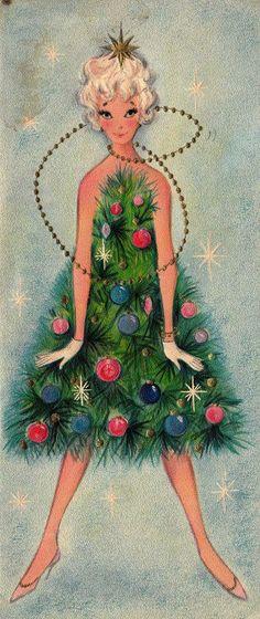 retro christma, holiday dresses, christmas cards, vintage christmas, tree skirts, christmas greetings, vintage greeting cards, christmas trees, vintage cards