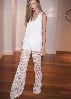 Alexis Madrid Wide Leg Crochet Pant in Ecliptic White
