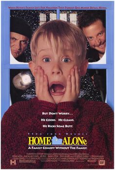 Home Alone (1990).  Featuring the iconic image of Macauley Culkin realizing he's been left alone.... Still one of the biggest grossing comedies ever made.