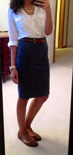 Tucked loose button-up shirt, pencil skirt, comfy flats for shoes.