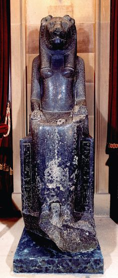 Egyptian figure of the Goddess Sekhmet, Lion goddess of War and Strife Granite or diorite; BC 1390 - BC 1353  King Amenhotep III of Egypt (1386-1349) built a temple at Karnak in Thebes dedicated to the vulture goddess Mut, wife of Amon, king of the gods and mother of Khonsu. In earlier times, Mut was symbolized by the lion goddess Sekhmet which means 'the powerful.'