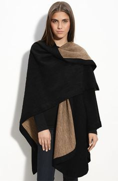 Black camel 2 tone knit ruana cape