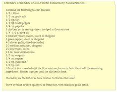 Kate Gosselin's Chicken Cacciatore recipe