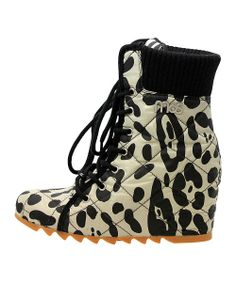 White & Black Leopard Stella Leather Wedge Boot | Daily deals for moms, babies and kids