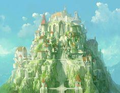 mountains, sky, concept art, parks, digital art, castles, court, character design, artwork