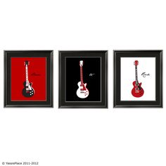 Guitar Art Children's Wall Art in red black and by YassisPlace, $48.95