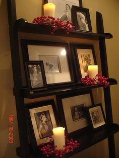 candles - ladder shelf decor
