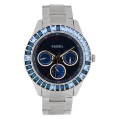 Fossil Women's ES2958 Stainless Steel Analog with Blue Dial Watch  $86.95