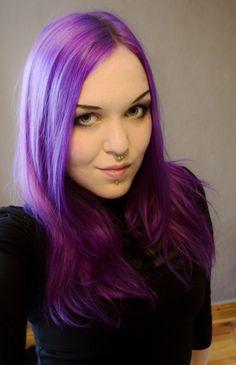 purple hair but only a few streaks