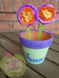 Pot of love.  Home-made paper flowers for a Happy Mother's Day. Ms. Fultz's Corner!