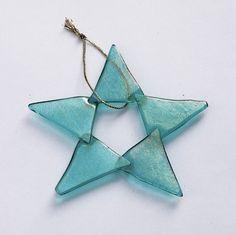 Fused Glass Star Ornament, Iridescent Aqua with Five Points | SteiderStudios - Housewares on ArtFire