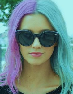 cotton candy, hair colors, glasses, cat eyes, sunglass, pink lips, beauti, shade, pastel hair