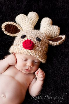 Rudolph Reindeer baby hat by Mariias on Etsy, $24.00