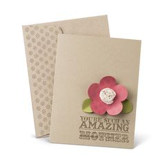 """Stampin' Up! Card  Stampin' Supplies;  Stamps: Amazing Family; CS*: Crumb Cake, Certainly Celery, Regal Rose: Ink*: Soft Suede;  Accessories: Fancy Flower Punch, 5/8"""" Flower Trim, Starburst Jumbo Wheel:   * all colors best guess"""