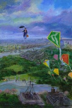 """Let's Go Fly A Kite"" by Harrison Ellenshaw - Limited Edition of 95 on Hand-Textured Canvas, 36x24.  #Disney #MaryPoppins #DisneyFineArt #HarrisonEllenshaw"