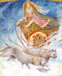 Freya (also Frija) is the Scandinavian goddess of love and fertility (both animal and the land) and the wife of Odr or Ottar. She rode in a chariot pulled by two cats the size of lions. An early form of Freya was Frya, an earth goddess. Some cat fanciers like to identify Freya's cats as Norwegian Forest Cats. Freya had a fondness for fairies and that breed is also known as the Fairy cat.-of course!!