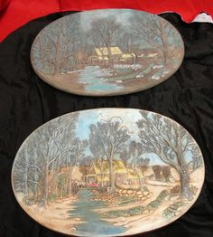 Pair Hershey Molds LARGE GRIST MILL PLAQUE Dated 1976 Beautiful Wall Hangings