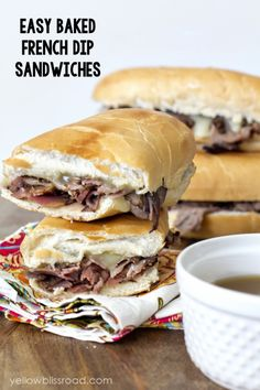 Easy Baked French Dip Sandwiches - Cook beef, onions , and cheese in foil packet, then assemble in toasted buns