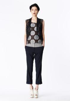 LOOK 3 Black honeycomb lace tailored vest.  Navy raffia dot organza tank.  Navy Pinstripe wool trouser with seersucker yoke.