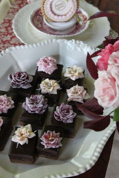 Chocolate-Raspberry Truffle Bars with Crystallized Roses by Julia M. Usher.