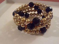 Memory Wire Bracelet -Giamarie Jewelry - Pearl balanced with gem