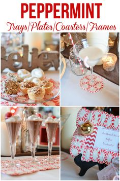 PEPPERMINT DIY TRAYS, COASTERS, PLATES, TRAYS  Amazing tutorial! One pinner said: easiest way to make everyone WOW'd at your Christmas Party!