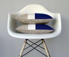 Cobalt Blue & Cream Colour Block Pillows
